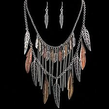 Western Bohemian Metal Gold Silver Rose Gold Feather Pendants Necklace