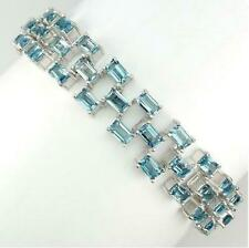 23ct Swiss Blue Topaz Bracelet in 14K White Gold Overlay 925 Sterling Silver 7""