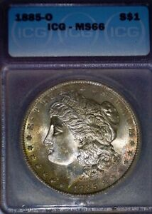 1885-O Morgan Silver Dollar, ICG MS66 , Toned, Issue Free