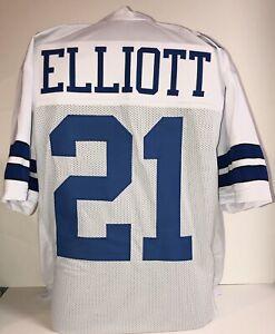 🔥 Ezekiel Elliott UNSIGNED CUSTOM Sewn Stitched White Jersey  M, L, XL, 2XL,3XL
