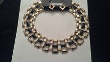Black Gold Chain Link 16 Inch Collar Necklace Earring Set By Bijoux Stella