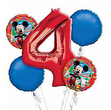 Mickey Mouse 4th Birthday  Balloon Bouquet - 5 Foil Helium Balloons Party