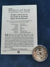 More details for 999/1000 silver commem 20 crowns coin 1995 ve-day turks & caicos with coa