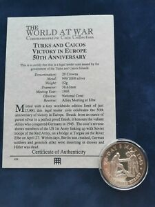 999/1000 Silver Commem 20 Crowns Coin 1995 VE-Day Turks & Caicos with COA