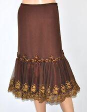 LITHE ANTHROPOLOGIE Burgundy Gold Tulle Beaded Embroidered WINTERGARTEN Skirt 6