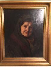 Antique Oil Painting Portrait Old Women Signed Springer Canvas