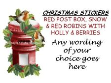 CHRISTMAS RED POST BOX HOLLY & BERRIES, ROBIN PERSONALISED STICKY ADDRESS LABELS