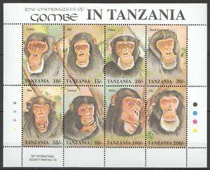 PK212 TANZANIA FAUNA ANIMALS MONKEYS THE CHIMPANZEES OF GOMBE 1KB MNH STAMPS