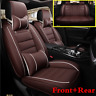 Deluxe Edition Seat Cushion PU Leather Car SUV Seat Covers Full Set Coffee Color