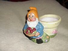 """COLLECTABLE POTTERY COLOURFUL GNOME WITH BASKET OF FRUIT PLANT POT  5.5"""""""