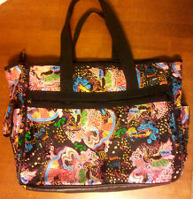 Large-Tote-Bag-Roxy-Canvas-Handles-Zipper-Top-Side-Pockets-Multi-Color