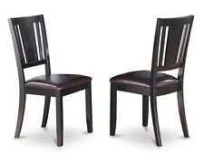 Set of 4 Dudley dinette kitchen dining chairs with leather seat in black finish