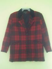Womens Braebrook Red Black Plaid Wool Coat Size 13/14 Made in Ukraine