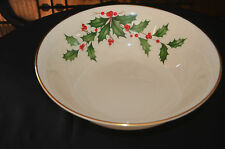 RARE Lenox Holiday Salad Bowl With Gold Trim Beautiful for Display