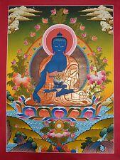 "29.75"" x 22.25"" Medicine Buddha Tibetan Buddhist Thangka/Thanka Painting Nepal"