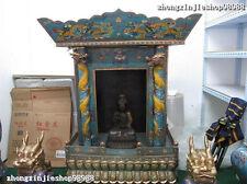 "56""China Royal 100% Pure Bronze cloisonne Dragon Palace niche for Buddha shrine"