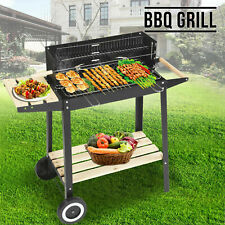 Outdoor Charcoal Bbq Stand with Wheels Black Steel Wood Grill Smoker Cook Stand