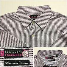 Ted Baker Endurance Timeless Classic Short Sleeve Button Front Shirt Purple 16,5