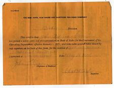1925 NEW YORK NEW HAVEN HARTFORD RAILWAY Boston Division EXAM CERTIFICATE Train