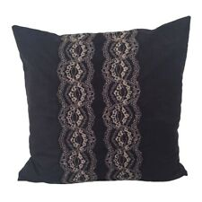 """Suede Lace Applique 18x18"""" Decorative/Throw Pillow Case/Cushion Cover - HANDMADE"""
