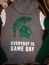 Victorias Secret Pink BLING Michigan State Every Day Is Game Day Zip Up Hoodie M