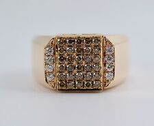 Men's 14k Rose Gold Brown And White Diamond FLIP Double Sided Ring Size 7.25