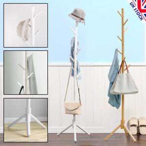 8 Hooks Wood Coat Rack Hat Jacket Bag Clothes Hanger Stand Living Room Bedroom