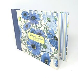 Vintage Guest Book Galison Victorian Flowers Blue White Messages Section Unused