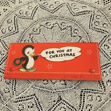 Vintage Greeting Card Christmas Penguin Wreath Money Holder