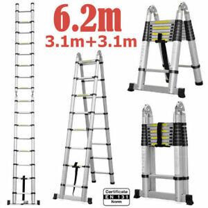 6.2M Telescopic Aluminium Ladder Alloy Extension Extendable Steps Adjustable