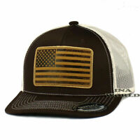 USA American Flag Hat Faux Leather Flag Patched Mesh Snapback Baseball Cap-Brown