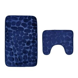 Memory Foam 2 PC Bathroom Rug Absorbent Bath Mat Set Large and Contour Rug Anti