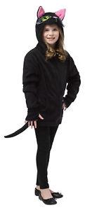 Hoodie Black Cat Comical Costume Tail & Pink Lined Ears Halloween Rasta Imposta