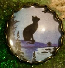 Vintage Style Lilac Cat Kitten Hand Made Scottish Glass Brooch
