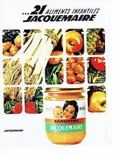 Publicité Advertising  0817  1962  aliments bébé petit pot verre Jacquemaire