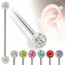 14G Dual Crystal Ball Ear Barbell Industrial Bar Steel Scaffold Ring Piercing