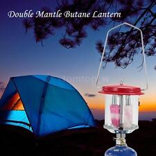 Outdoor Camping Double Mantle Butane Gas Lantern Lamp Light + Lighter W6Y7