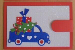Geldgeschenk-Grusskarte °Auto mit Geschenken° Weihnachten - für Geld - Beigabe