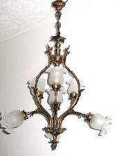 Antik  Jugendstil Französische Messing-Glas Kronleuchter, Lüster 7 Flammig