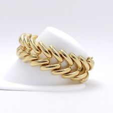 "14k Gold Italy 3/4"" Wide V Link Chevron Stampato Bracelet 35.8gr"