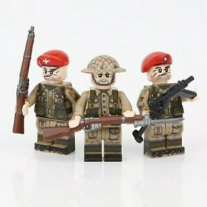 Lego WW2 Bataille de Normandie 3 Soldats Anglais UK Militaire Armée Military
