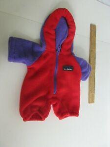 LL Bean Ellie Bear Cub-eralls Fleece Hood One Piece Red Purple