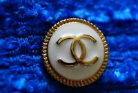 One Stamped Chanel button 1 pieces   metal cc logo 0,8   inch 20  mm  white
