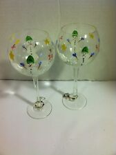 Pair Handpainted Snowman Wine Glasses w/Wine Charms