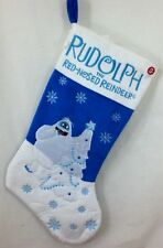 "18"" Christmas Holiday Musical Blue Stocking - Rudolph Reindeer Bumble Snowman"