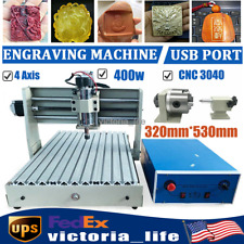 4 Axis Cnc Router Engraver 3040 Wood Engraving Carving Cutting Machine Usb Port