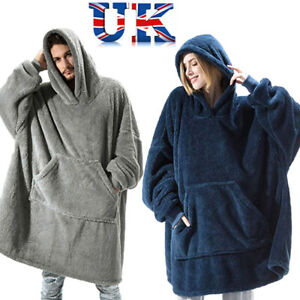 Oversized Hoodie Blanket Winter Fleece Plush Sherpa Giant Big Hooded Sweatshirt