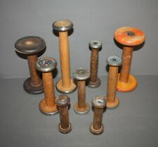 LOT OF 9 ANTIQUE VINTAGE INDUSTRIAL TEXTILE MILL WOOD SEWING SPOOLS & BOBBINS