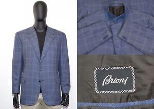 Luxury Brioni Palatino Blazer 58-59IT 48-49US/UK Blue Check Cashmere & Wool
