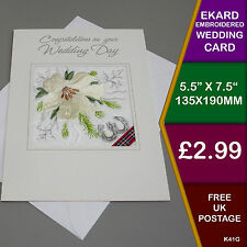 Embroidered EKARD Wedding Lily Card Handmade in Derbyshire UK Gift Marriage K41G